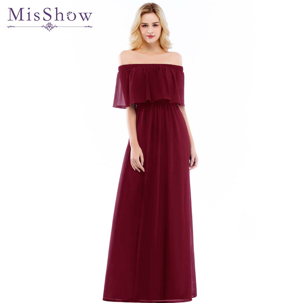 Cheap 2019 New Women Off the Shoulder Chiffon   Bridesmaid     Dress   Long Party Pageant Wedding Formal Gown Elastic waist Summer   Dress