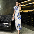 Women's Retro Printing Cheongsam Long Qipao Dress Fashion Ladies Silk Velvet Cheong-sam Top Chinese Qipao Dress Robe