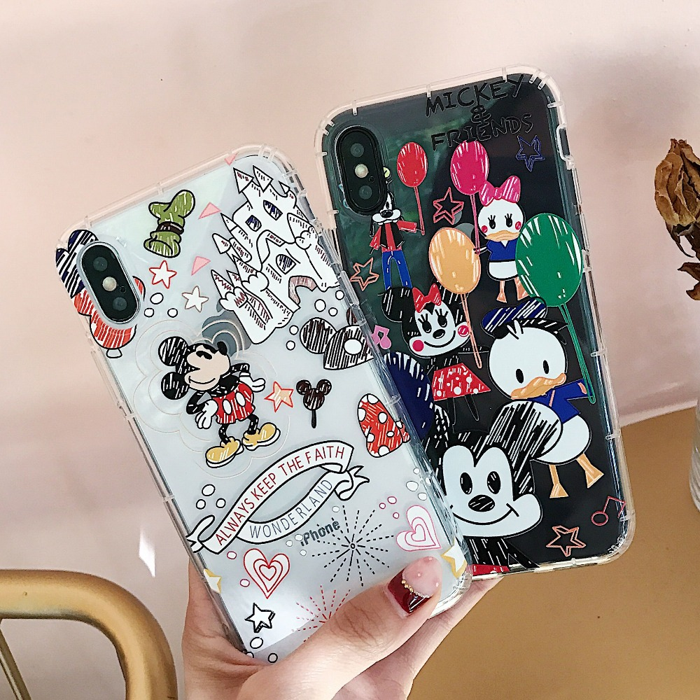 Cute Circus Minnie Mickey Friends Duck Clear Soft TPU Cover Iphone XS Max XR X 6 6S 7 8 Plus