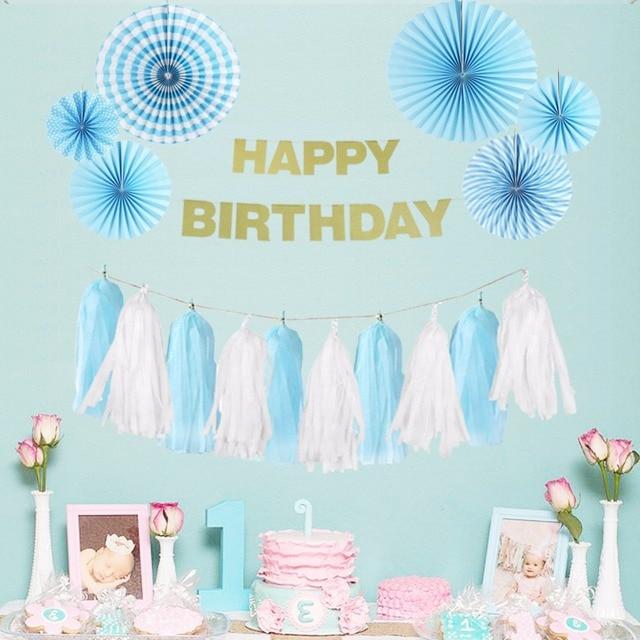 Blue Theme Party Decoration Happy Birthday Boy Supplier Tissue Paper Fans Baby Shower