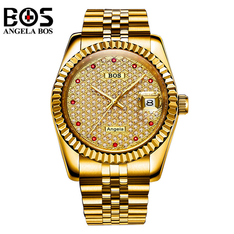 original ailang mechanical watches men waterproof luminous calendar automatic watch men montre homme relogio masculino 2017 Relogio Masculino ANGELA BOS Mechanical Watches Men Waterproof Diamond Luminous Gold Silver Automatic Wrist Watch Montre Homme