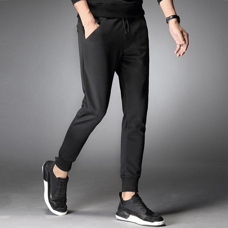 Pants Men Joggers Elastic Ribbed Cuffs Black Joggers Sweatpants Male Trousers Tracksuit Bottoms Sweat Track Pants Casual Men