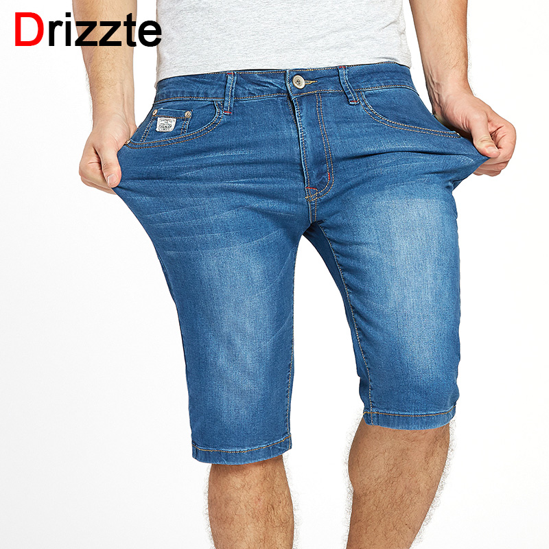 Drizzte Mens Summer Stretch Lightweight Blue Denim Jeans Short for Men Jean Shorts Pants Plus Size 32 33 34 35 36 38 40 42 44 46 sulee 2017 summer new arrival plus size jeans shorts men blue short denim pants light and thin material size 28 to 40