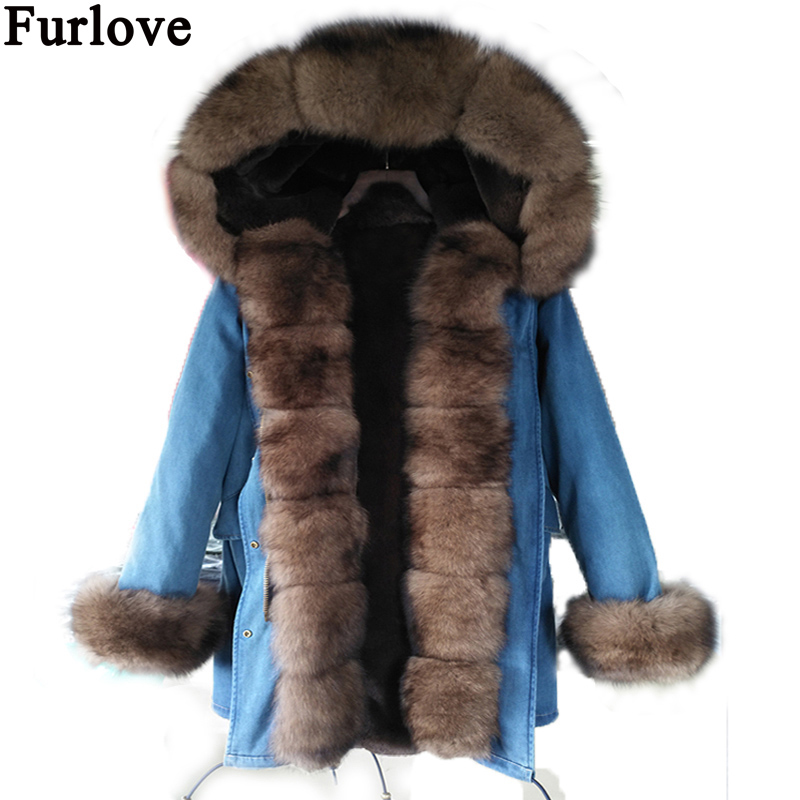 New Real Fur Long Fox Fur Coat Hooded Denim Jacket Outwear Thick Parkas Women Winter 2017 Natural Real Fox Fur Collar Coats zoe saldana 2017 long winter jacket women thick fur liner parkas natural real fur collar winter coat hooded warm outwear