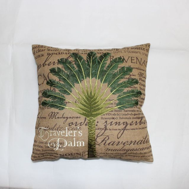 VEZO HOME Embroidered Palm Tree Burlap Sofa Cushions Cover Throw Pillows  Cover Chair Seat Pillow Case