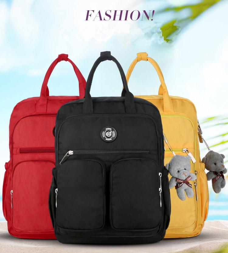 HTB1eoD.afjsK1Rjy1Xaq6zispXa3 2019 Fashion Woman Backpack Waterproof Nylon Soft Handle Solid Multi-pocket Travel Zipper Mochila Feminina Sac A Dos School Bags