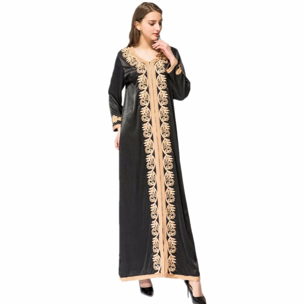 Adulte décontracté perles soie tissu Robes Musulmane dubaï mode robe Musulmane Robes chaudes arabe culte Service musulman abaya Wj2281 - 5