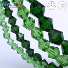 OlingArt 3mm/4mm/6mm/8mm Bicone Upscale Austrian Multicolored crystal green color beads Loose bead bracelet DIY Jewelry Making