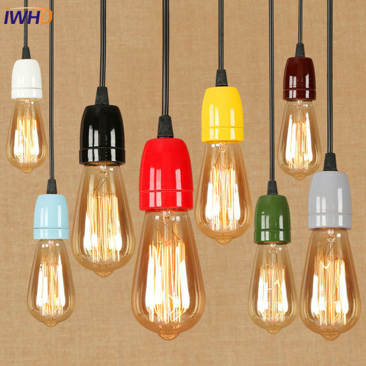 IWHD Ceramic RH Loft Vintage Industrial Edison Pendant Lights Retro Iron Pink Pendant Lamp Fixtures For Home Lighting Bar Cafe new loft vintage iron pendant light industrial lighting glass guard design bar cafe restaurant cage pendant lamp hanging lights