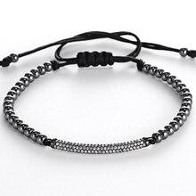 Circones bar moderno estilo hombres pulsera micro pave cz brillante tubos largos trenzada macrame encanto pulseras y brazaletes regalo de la joyería