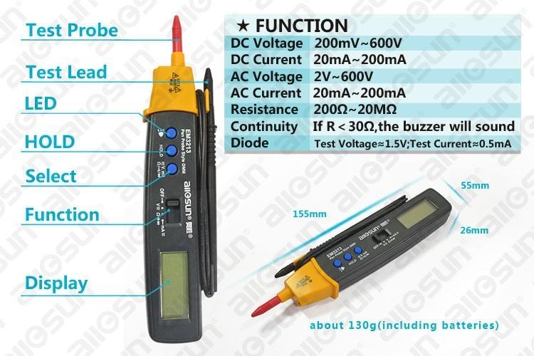 AutoRange Pen stílusú digitális multiméter DMM AC DC Volt Amp Ohm - Mérőműszerek - Fénykép 5