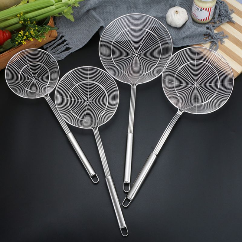 Spider Strainer Stainless Steel Skimmer Ladle Food Frying Spoon With Long Handle For Home Kitchen Fried Kitchen Restaurant in Colanders Strainers from Home Garden