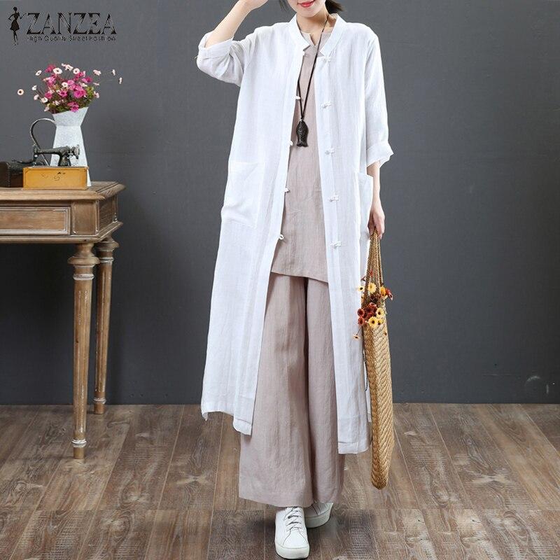 2018 ZANZEA Vintage Women Casual Linen Blouse Autumn Long Top Female Button Down Long Sleeve Blusas Elegant Ladies Cardigans