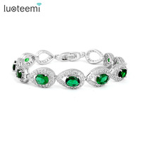 High Quality Luxury Emerald Swiss CZ Stone Water Drop Connected Women Bracelet
