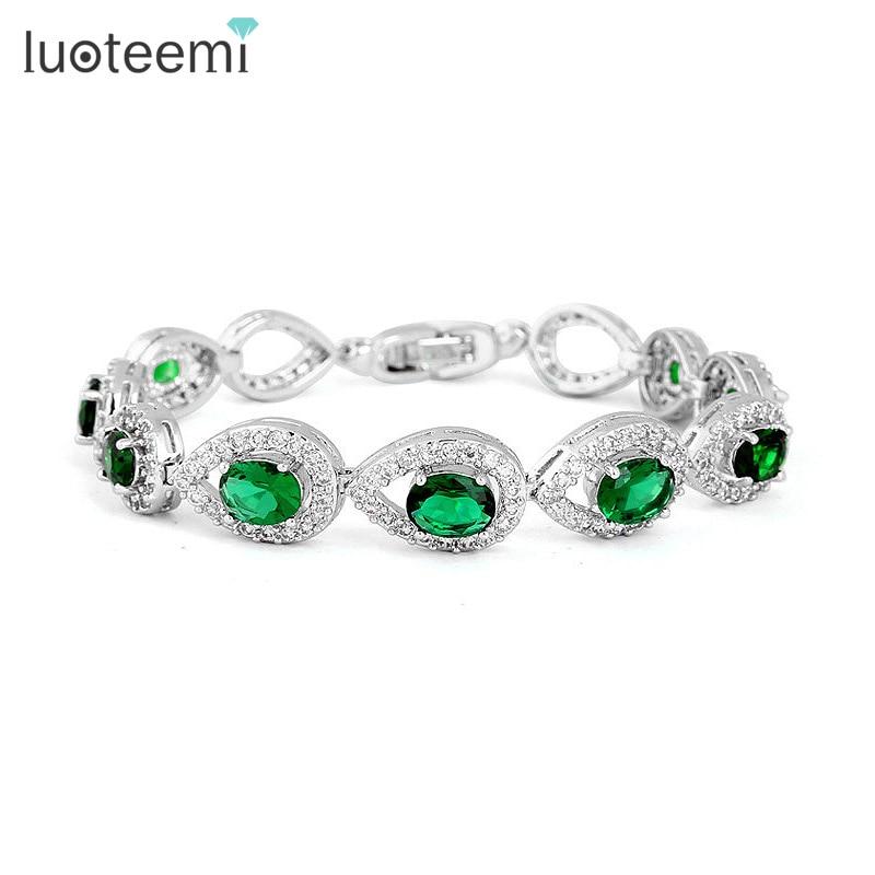 LUOTEEMI CZ Bracelet Luxury Water Drop Green Clear Color Cubic Zirconia Charms Bracelet Bangles Fashion Women Wedding Jewelry