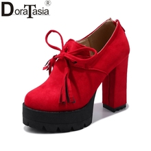 DoraTasia Brand New Sexy Platform Fringe Tassels Woman Shoes Fashion Square High Heels Zip Up Party Date Pumps Woman Footwear