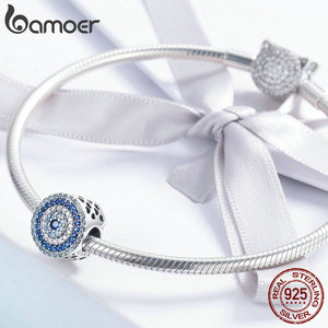 Image 3 - BAMOER Fashion New 925 Sterling Silver Blue Eye Lucky Blue Cubic Zircon Beads Charms fit Necklace Bracelets DIY Jewelry SCC915