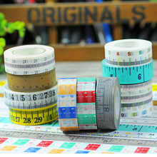 2017 New 1x Scale Ruler Patterned Japanese Washi Tape Measure Meters DIY Office Adhesive Tapes Decorative