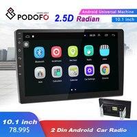 Podofo 2DINCar Multimedia Autoradio 10.1 Android Radio Stereo Capacitive Screen Bluetooth WIFI GPS Quad Core Video MP5 Player