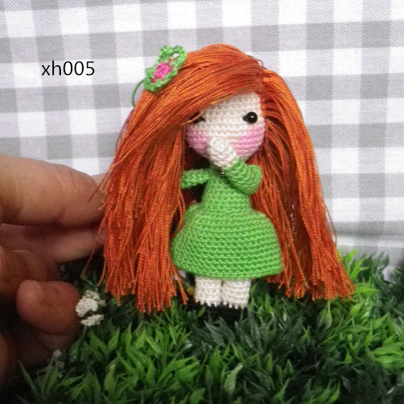 Miniature Doll  Redhead Doll, Crochet Very Very Fine, My Own Creation Toy Rattle