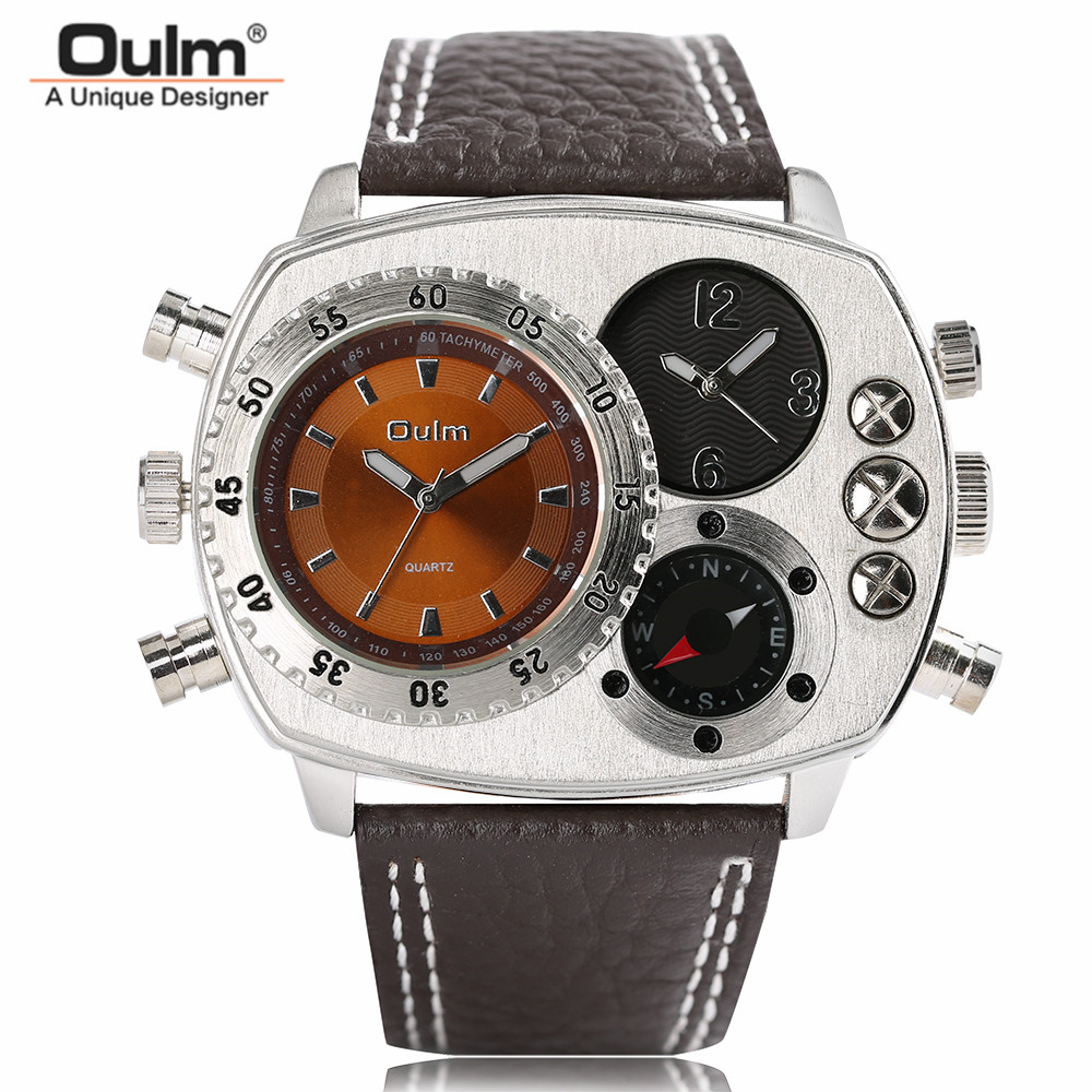 OULM Mens Genuine Leather Wrist Watches 2 Time Zone Hot Fashion Analog Male Sport Quartz Ourdoor Big Dial Clock Deco Compass tearoke oulm men wristwatch quartz watch genuine leather dual time zone male military sports clock compass thermometer big dial