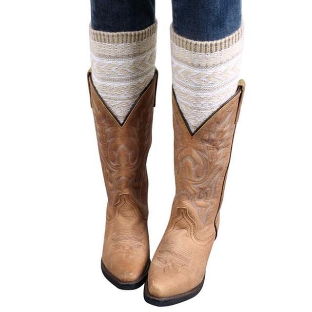 Boot Socks Women Geometric Pattern Wave Jacquard Knitted Leg Warmers
