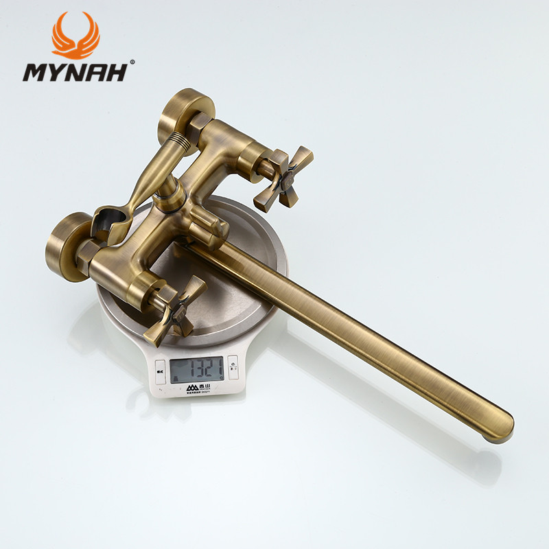 Купить с кэшбэком MYNAH Russia Free Shipping Brass Golden Bathroom Faucets Tub Filler Faucets Mixer Tap Spa Waterfall Hand Shower Holder M2759B