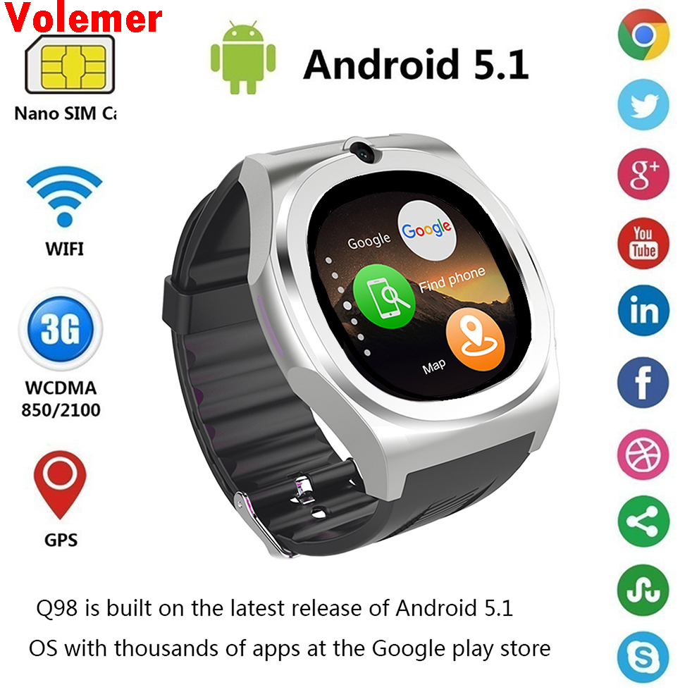 2017 New Smart watch Q98 MTk6580 Support SIM SD Card Bluetooth WIFI GPS SMS camera cell phone bracelet For iPhone & Android Man bluetooth watch d8 full steel smart bracelet sync phone led digital watch with vibrate can answer phone for smart watch