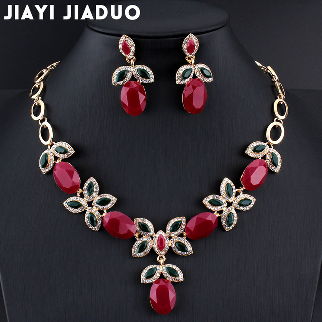 Jiayijiaduo New Wedding Party Jewelry Sets Retro for Indian Women Charm Wedding Dress Gold-color Necklace Set Earrings Sets