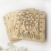 Wooden Chocolate Cabinet DIY Drawer Mr & Mrs LED Countdown Wedding Party Supplies Decoration Ornament Gift