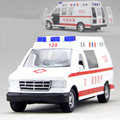 1:32 Ford Iraq Kenuo Lane Police Ambulance Alloy Diecast Car Model Sound&Light for Baby Gifts