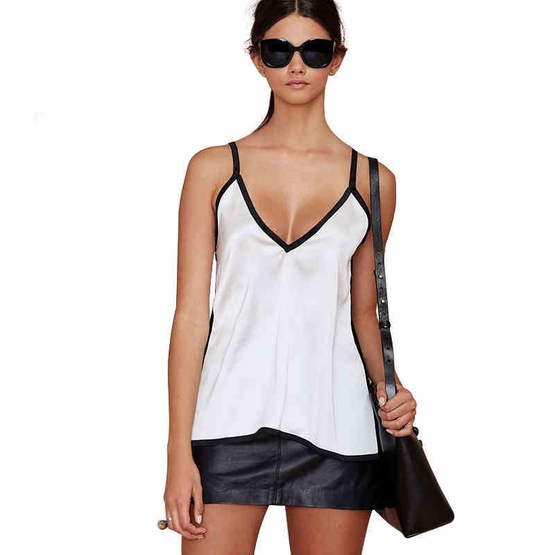 Women Chiffon Summer Vest Sleeveless V Neck Solid Tank Top White Blouse Cami