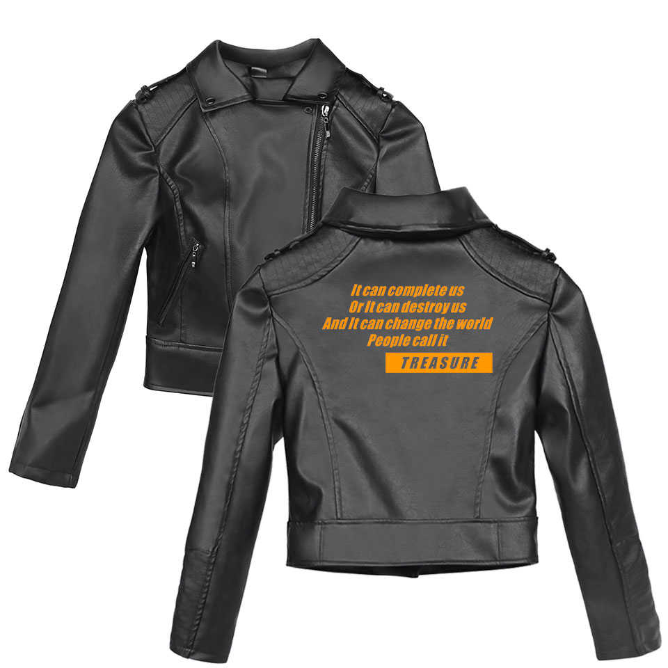 2019 ATEEZ Moto Biker Leather Jacket Women/Men Slim Outerwear Coats Feminine Jacket Delta Sigma Theta Kpop Women's Windbreaker