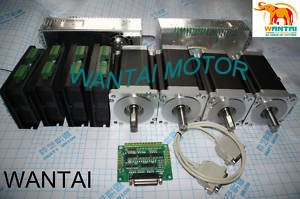 цена на 4 Axis Nema 34 Stepper Motor Single Shaft1600oz-in, 3.5A, 4-Leadings CNC Mill And DQ860MA driver 7.8A Control wantaimotor
