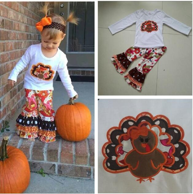 New Arrival Autumn Baby Girls Thanksgiving Clothing Boutique Turkey White Top Print Ruffle Pants Children Boutique Outfits T015 cherry print ruffle top