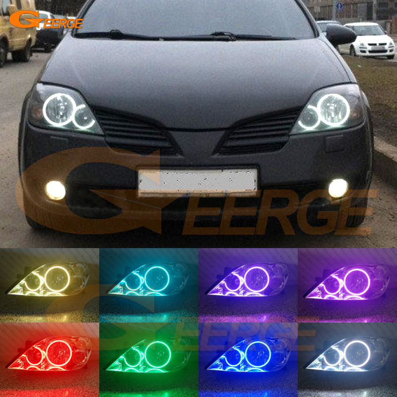 For NISSAN PRIMERA P12 2002-2008 Excellent Angel Eyes Multi-Color Ultra bright RGB LED Angel Eyes kit Halo Rings