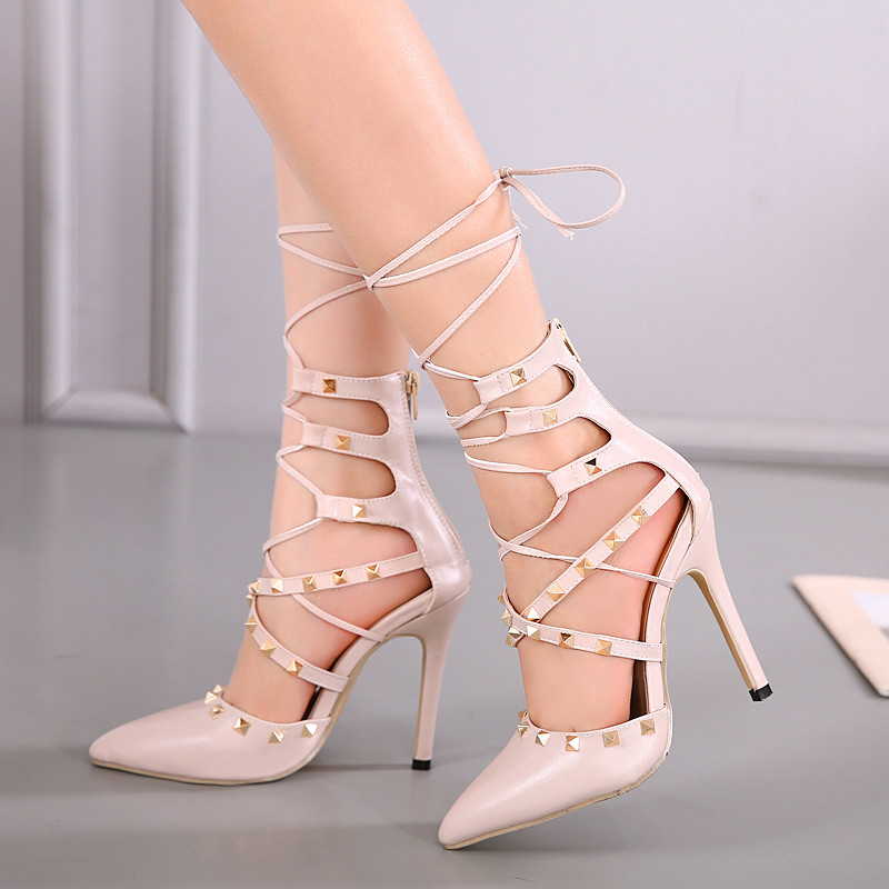 2017 womens wedding party bridal knee high summer boots lace-up strappy bandage Rivets roman Gladiator sandasl fringe stiletto 9