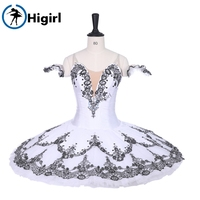 Snow Queen YAGP Ballet Dance Stage Costume Adults Professional Ballet Tutu BT9226 White Black Platter Pancake Performance Tutus