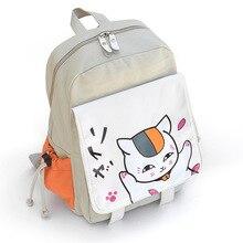 Fashion Anime Natsume Yuujinchou Canvas Cartoon Backpacks Teenager Student Shoulder Schoolbags Unisex Travel Bag