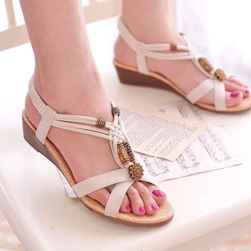 Sandali delle donne 2019 di Stile di Roma Gladiatore Sandali Con Zeppe Scarpe Femminili di Estate Sandali Tacchi Alti Zapatos Mujer Casual Scarpe Da Spiaggia