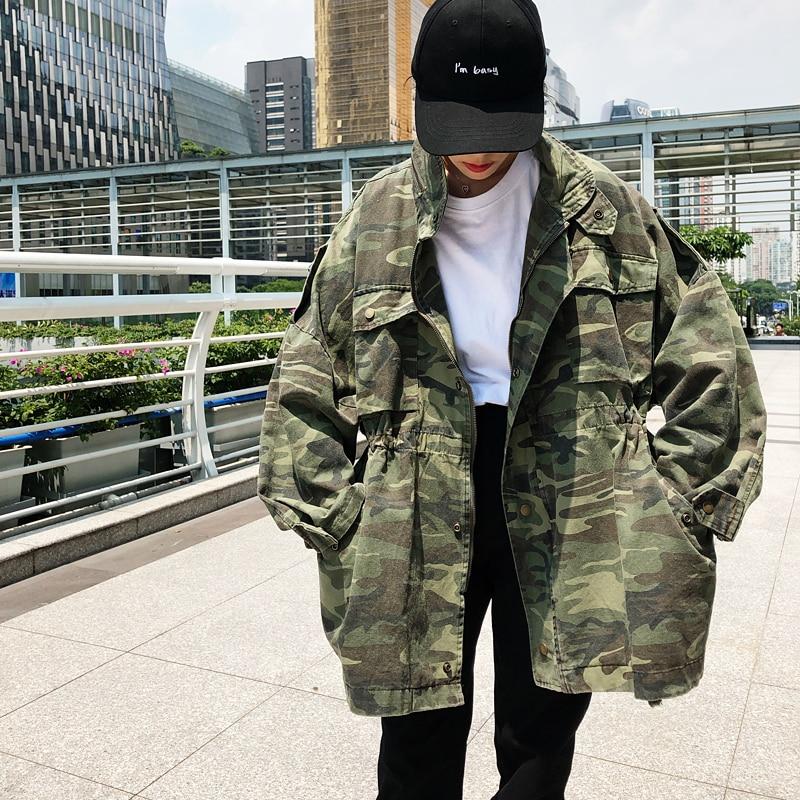 Shengpalae Montant Lâche Impression Manteau À Femme Col Coréenne Vestes Fi064 2019 Manches Nouveau Color Camouflage Femmes Longues Printemps 1gqS1r