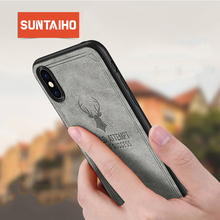 Suntaiho Soft TPU edge Canvas phone case for iPhone 7 case XS MAX 6s plus XS for iPhone XR 8 X case Elegant Cloth Weaving Cover