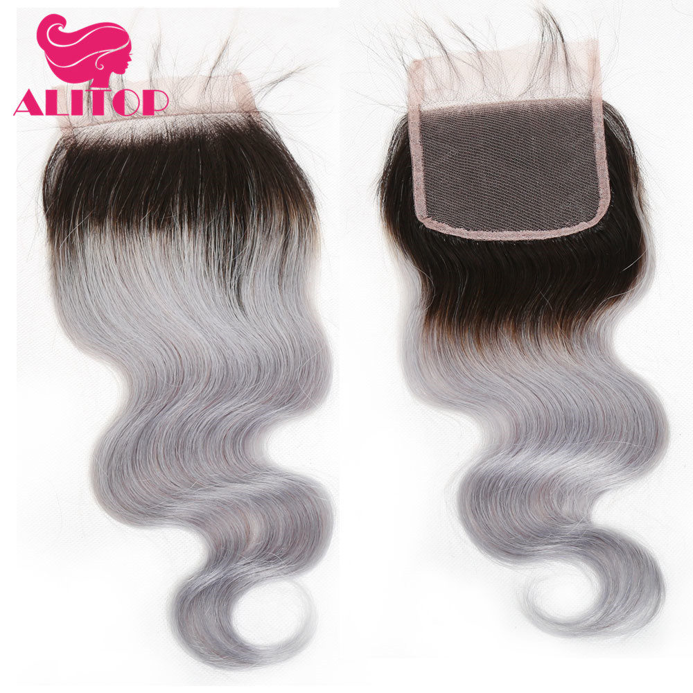 ALITOP Hair 1B Grey Brazilian Body Wave Closure Non Remy Hair 4X4 Lace Closure Free/Middle/Three Part Swiss Lace With Baby Hair