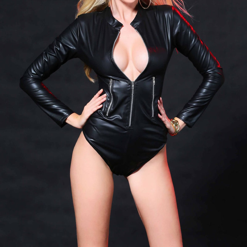 Buy Sexy Jumpsuit Long Sleeve PU Leather Latex Catsuit Front Open Zipper Erotic Costume Clubwear Women Leotard Bodysuit Lingerie