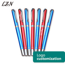 LZN All Red Color Metal Pen Fashion Style Ballpoint Pens Office Writing Stationery Free Engraved Text/Logo For Special Time/Day