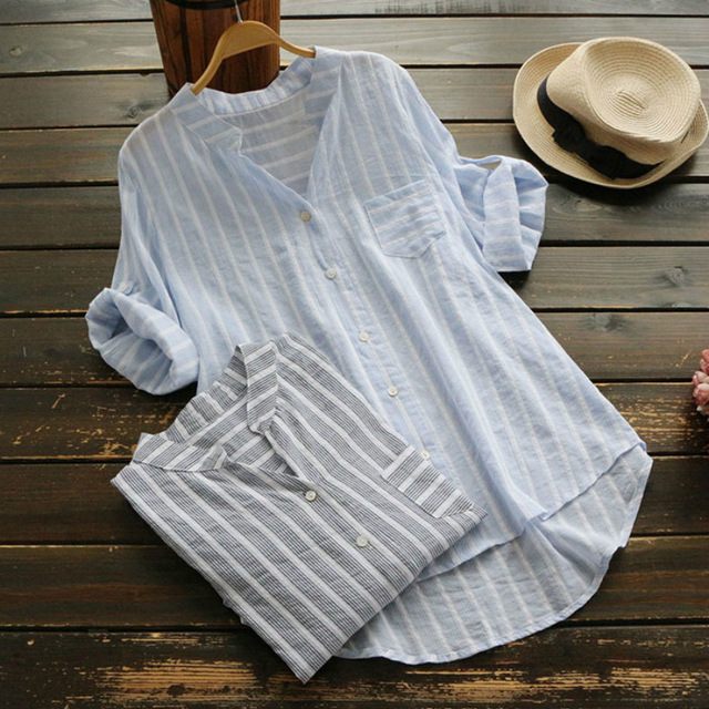 Blouse     Shirt   Female Cotton Linen New Summer Stripe Casual roll up Half Sleeve   Shirts   Loose Women Tops Ladies Clothing OL