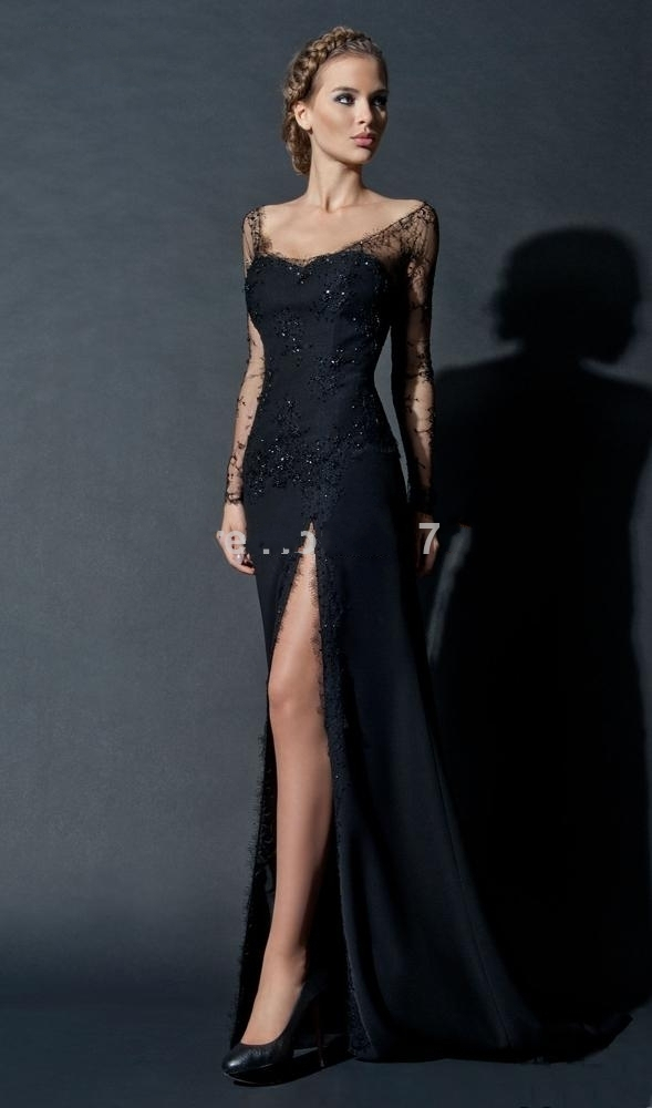 Intellective New Fashion Sexy Black Sequins Lace Long Sleeve Evening Gown Side Slit Long Evening Prom Dresses Tt051 Weddings & Events