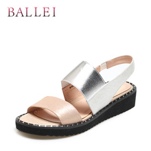 BALLEI Luxury Woman Handmade Sandal High Quality Genuine Leather Soft Thick Heel Shoes Solid Casual Wedges Ankle Strap SandalS96