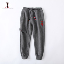 Kung Fu Ant 2017 Sports Casual Autumn Full Length Elastic Waist Cotton Pockets Pants Boys Kids Trousers 73505