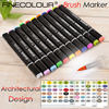 Finecolour Three EF102 Architectural Design Brush Double Ended Marker Pen Graphic Design Alcohol Based Soft Head